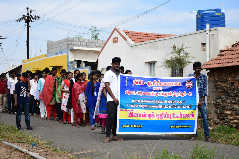 Plastic free rally by NSS Students at 7 days special camp