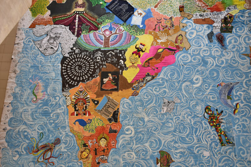 An art installation of the Indian map