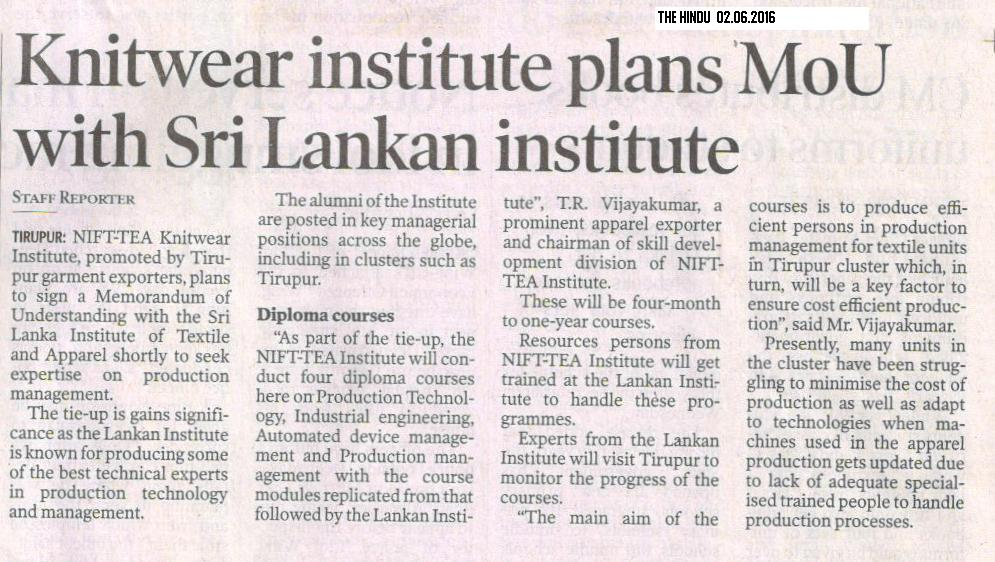 MOU with Srilankan Institute