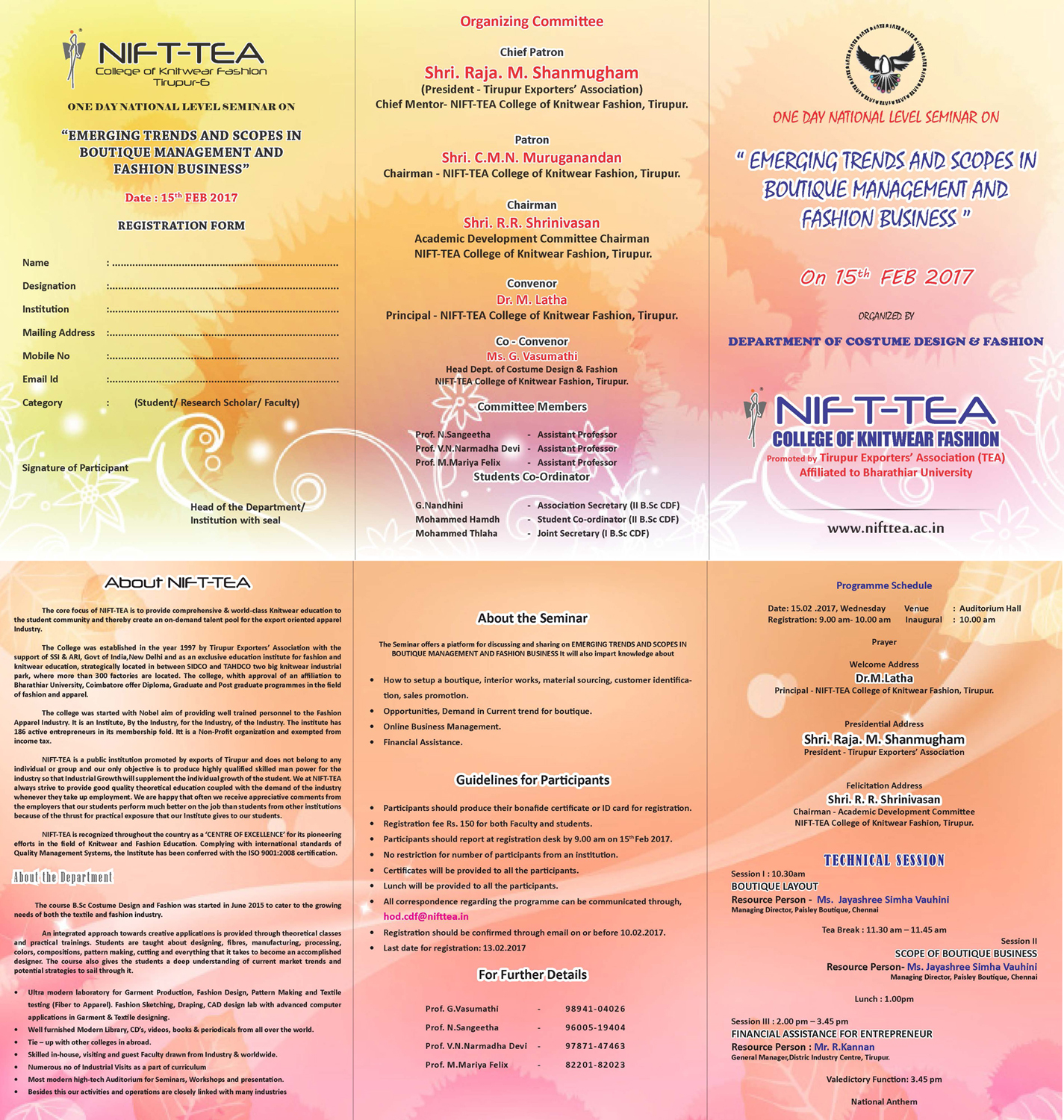 "One Day National Level Seminar on ""Emerging Trends and Scopes in Boutique Management and Fashion Business"""