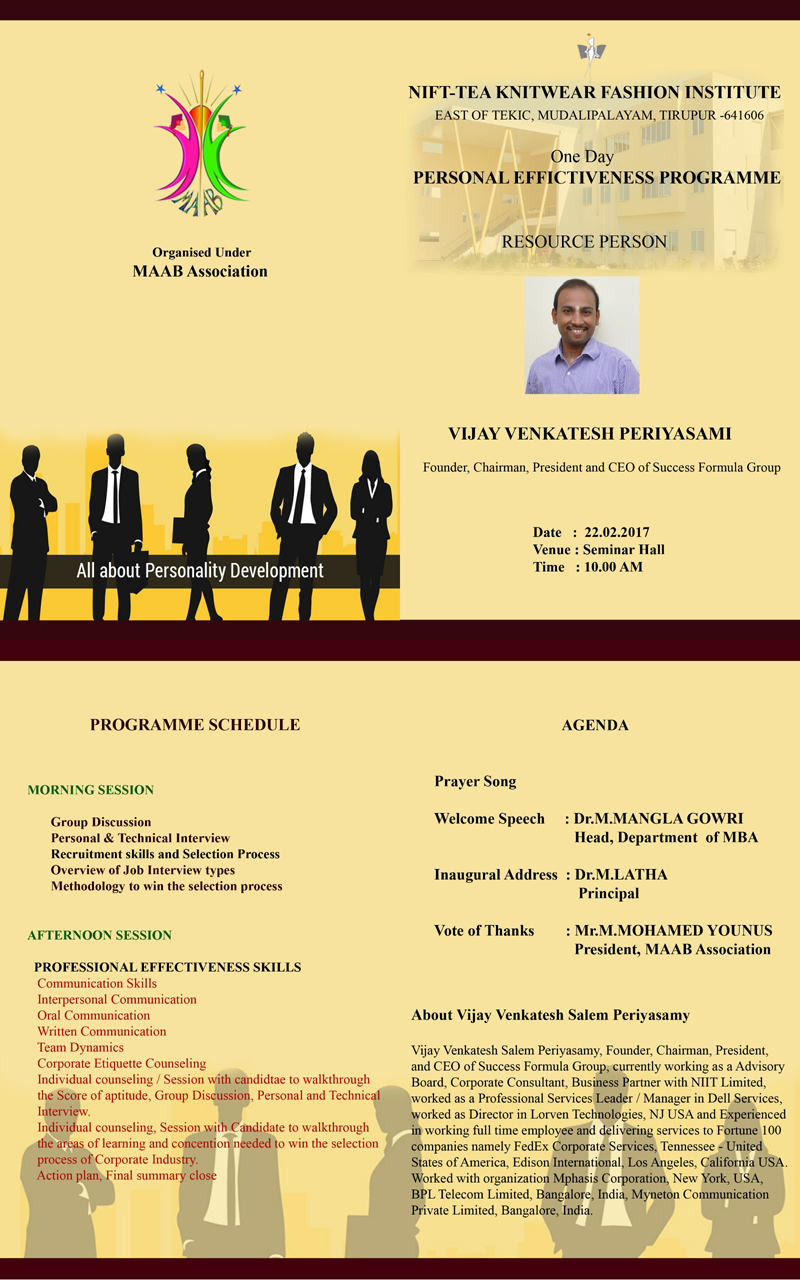 One Day PERSONAL EFFECTIVENESS PROGRAMME