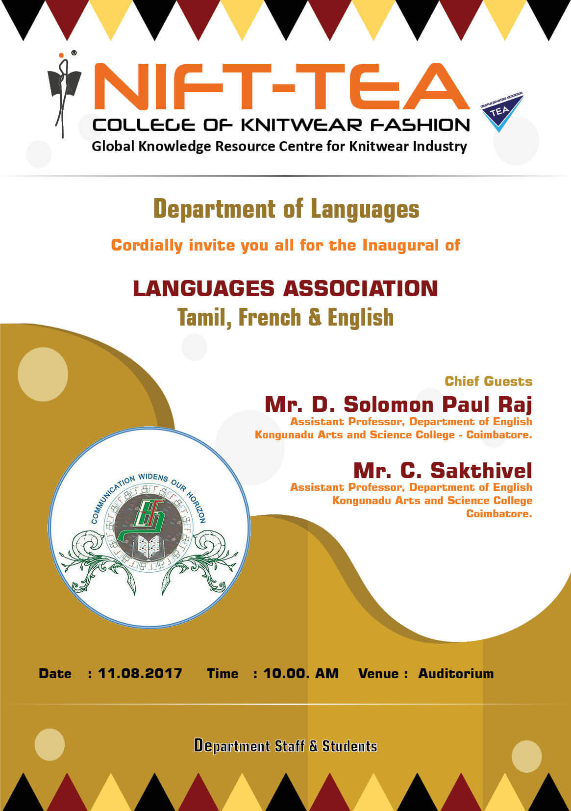 """Languages Association (Tamil, French & English)"" Inaugural Function"