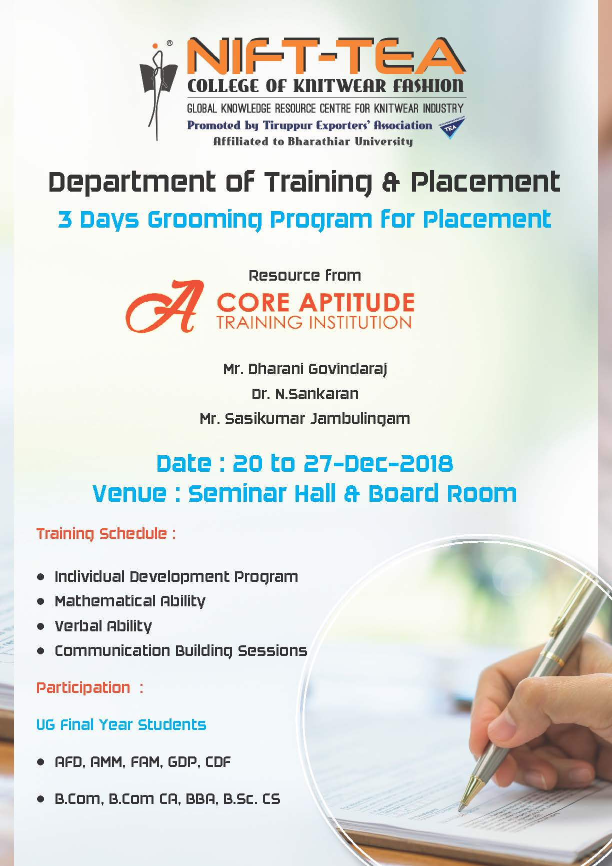 3 Days Grooming Program for Placement