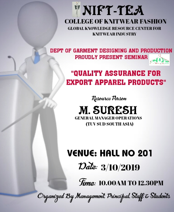"Seminar on ""QUALITY ASSURANCE FOR FASHION APPAREL PRODUCTS"