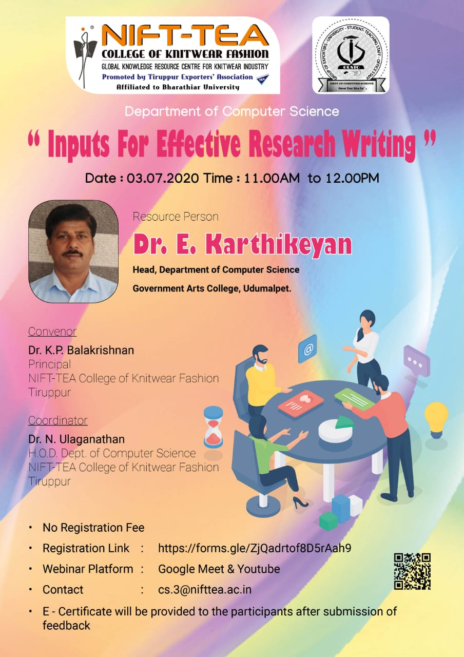 Webinar on Inputs for Effective Research Writing